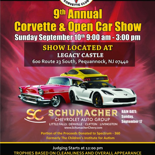 Sept. 10: North Jersey Corvette Club to Hold Its 9th Annual Corvette & Open Car Show, Portion of Proceeds to Benefit Spectrum-360